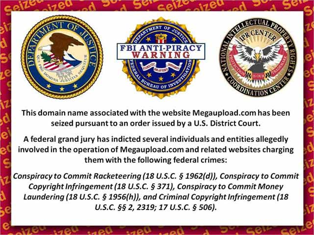 megaupload.com FBI anti-piracy notice